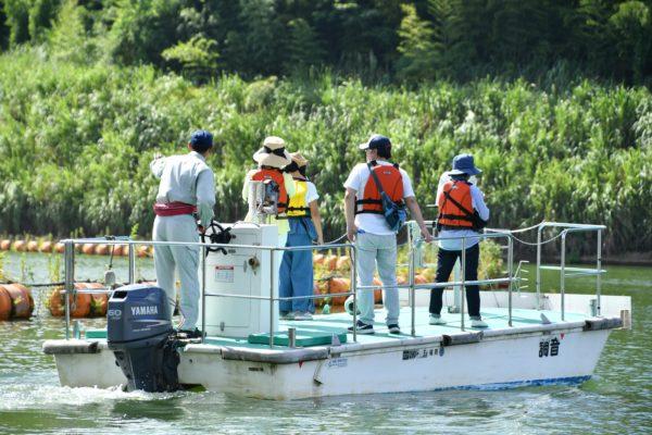 巡視艇でのダム湖見学(福岡県藤波ダム)